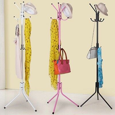 AU 12 Hook Coat Hanger Stand 3 Tier Hat Clothes Metal Rack Tree Style Storage