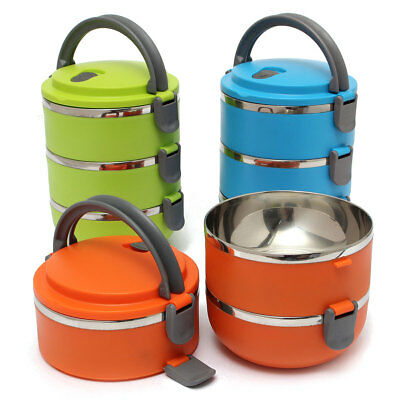 3 Layers Stainless Steel Lunch Bento Box Food Container Thermal Insulated Handle