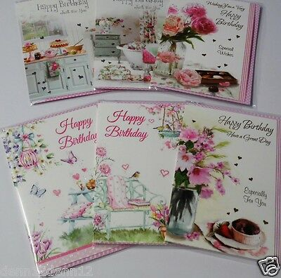 GENERAL BIRTHDAY CARDS x36, JUST 27p, 6 DESIGNS x6 WRAPPED-FOILED-EMBOSSED (B648