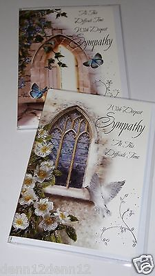 SYMPATHY CARDS x 12, JUST 27p, 2 DESIGNS x 6 WRAPPED-FOILED (B628