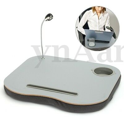 Laptop Cushion Knee Lap Reading Table Tray Cup Holder With 5 LED Light New