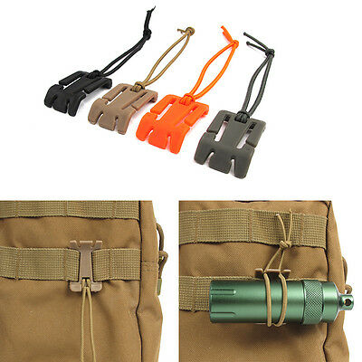 5pcs Military Molle Elastic Cord Tie-down Carabiner Strap Hang Buckle Roll Clips