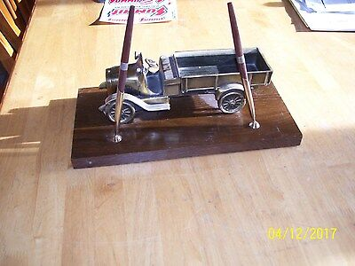 Vintage Brass Chevy Truck Pen Holder Desk Top dealership