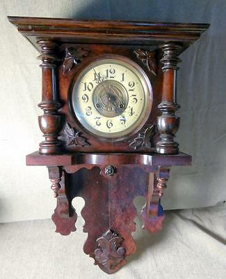 Old Antique Wood Wooden Wall Clock
