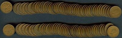 Canada 1945 Small Cents Cents  2 Rolls (96 Coins)