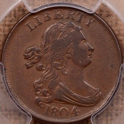 1804 C.13 Plain 4, No Stem Half cent, PCGS VF35, choice+    DavidKahnRareCoins