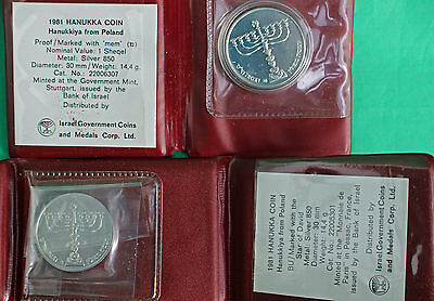 1981 Hanukkah Coin Poland Proof BU 2 Coin Lot Silver Commemorative Israel