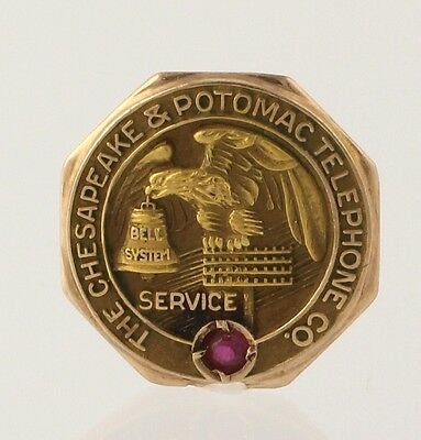 The Chesapeake & Potomac Telephone Co - 10k Yellow Gold Ruby Bell Systems Emblem