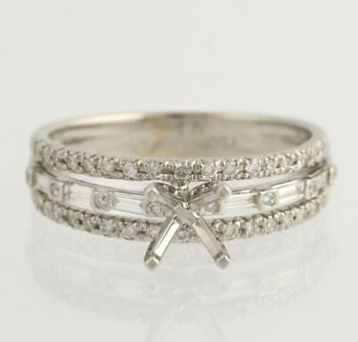 NEW Semi-Mount Engagement Ring Setting for 6mm Stone - 18k White Gold .31ctw