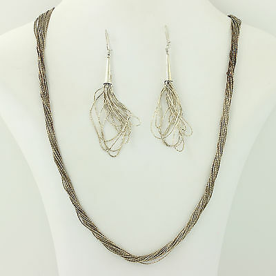 Native American Liquid Silver Jewelry Set - Sterling Silver Earrings & Necklace