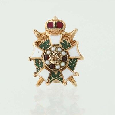 Rare Chivalric Knights Fellow Soldiers Demolay Pin - 10k Gold Priory Masonic