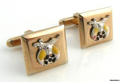 SHRINERS CUFF LINKS - Vintage Masonic Member Scimitar Crescent Square Face
