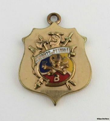 KNIGHTS of PYTHIAS - K of P Vintage Member Skull Cross Fob FCB Crest Collectible