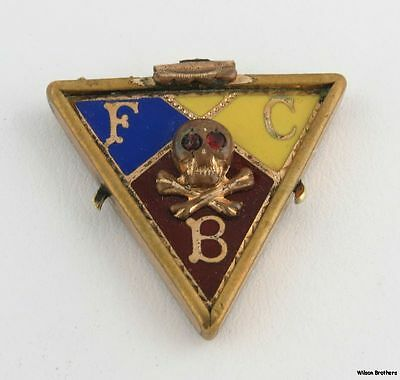 Vintage Knights of Pythias Fob - fraternal Member Collectible FCB Bible Skull