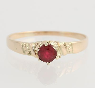 Victorian Red Glass Solitaire Ring - 10k Yellow Gold Women's 7 3/4 - 8 Fashion