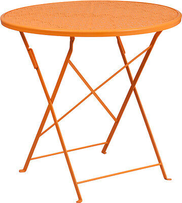 30'' Round Orange Indoor-Outdoor Steel Folding Patio Table Restaurant Furniture