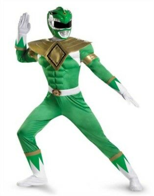 Deluxe Adult Classic Green Power Ranger Muscle Costume