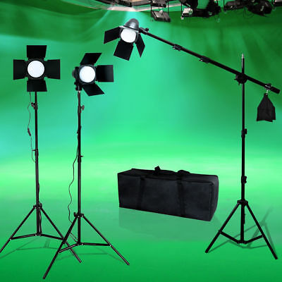 900W LED Photo Studio Lighting Photography Barndoor Light Boom arm Stand Kit