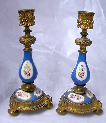 Pair Antique French Bronze Gilt SEVRES Style Porcelain Candelabra Candlesticks