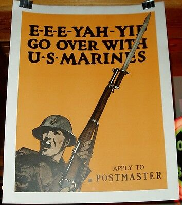 1917 Us Marine Recruiting Poster Eee-Yah-Yip Wwi World War One Marine C.b. Falls