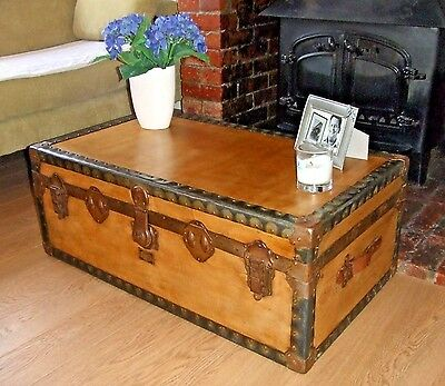 VINTAGE STEAMER TRUNK Waxed Wood Cabin Chest OLD LUGGAGE Storage Table