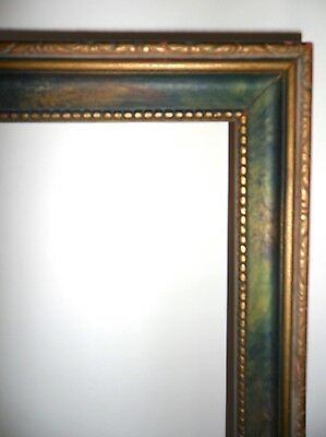 Antique Vtg 1920s Ornate Carved Gold Wood & Painted Art Deco Picture Frame 19x11