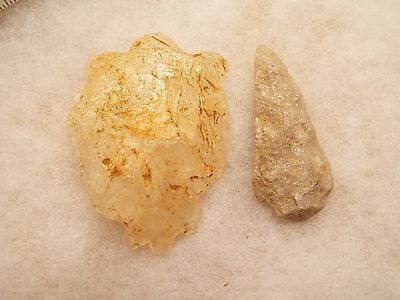 Very Old Native American Indian  Quartz Carved Pieces Turtle And Arrowhead ..