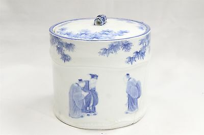 19c Chinese Porcelain Blue White Flowers Teachers Lidded Jar Tea Caddy Signed