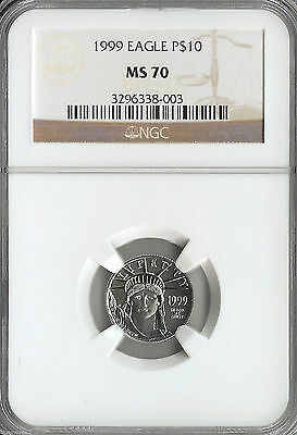 1999 PLATINUM EAGLE NGC MS70 $10 POP only 78 Coins * STATUE OF LIBERTY * SCARCE