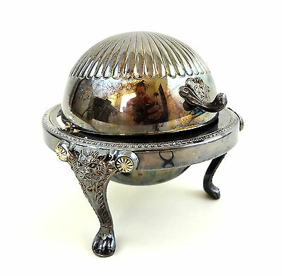 Vintage Silverplate Roll Top Butter Server Lion Head Footed FB Rogers 1883 273
