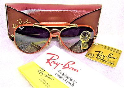 RAY-BAN *NOS B&L VINTAGE AVIATOR *LEATHERS *TGM For Driving Lens *NEW SUNGLASSES