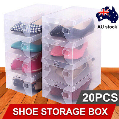 20x Transparent Clear Plastic Shoe Storage Box Foldable Stackable Boxes Organize