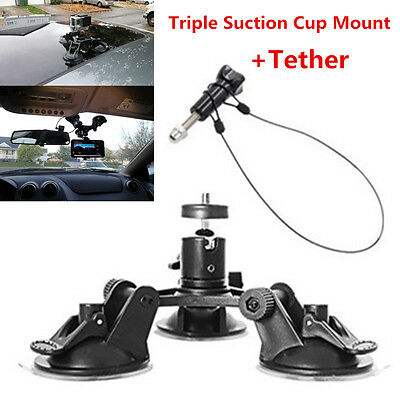 "Triple Low Angle Suction Cup Mount Holder +12"" Tether for Car Gopro 2 3+4 Camera"