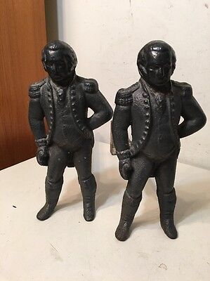 Vintage Pair Of Cast Iron George Washington Andirons By Virginia Metalcrafters