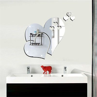 1Set 3D Mirror Love Hearts Wall Sticker Decal DIY Home Decor Accessories