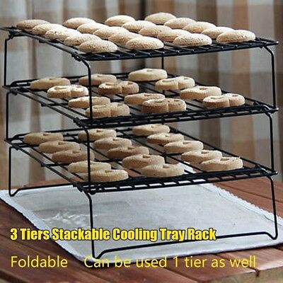 3 Tier Cake Cooling Steel Wire Grade Rack Stackable Kitchen Folding Shef Baking