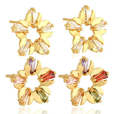 Hot Womens Yellow Gold Plated Butterfly Crystal CZ Stud Earrings Birthday