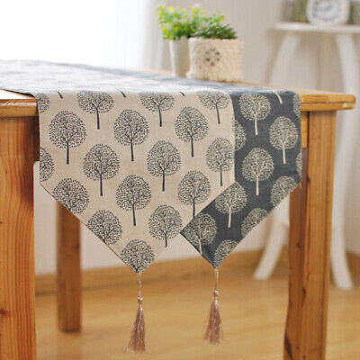 1X Modern Tree Table Runner Cotton Linen Pattern Floral Decoration Hot Sale