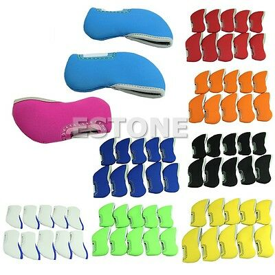 10pcs Neoprene Iron Golf Club Head Covers Headcovers Protect Case Set New