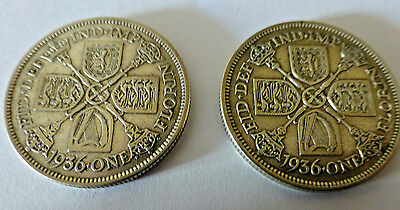 2 x George V 1936 Florin Two Shillings