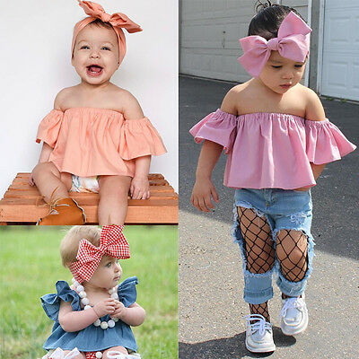 Newborn Kids Baby Girl Clothes Off Shoulder Tops+Headband Stylish 2pcs Outfits