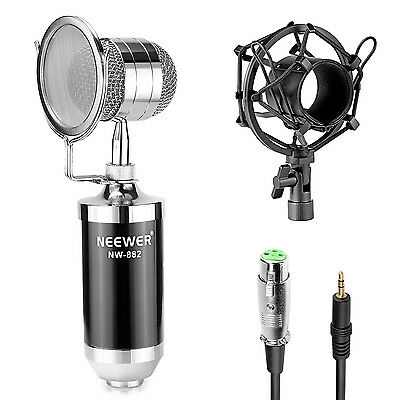 Neewer Kit Microfono Condensatore Cardioide con Anti-pop Shock Mount Cavo XLR