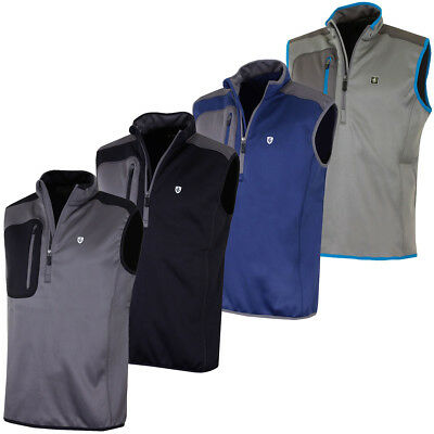 Island Green 2017 Mens 1/2 Zip Bonded Fleece Sleeveless Golf Vest Top
