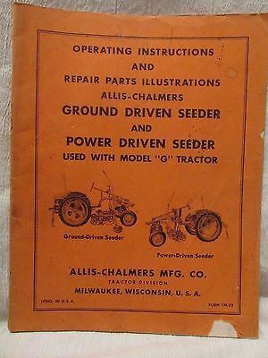 "Vintage Allis Chalmers Manual Model ""G"" Tractor Ground Power Driven Seeder"