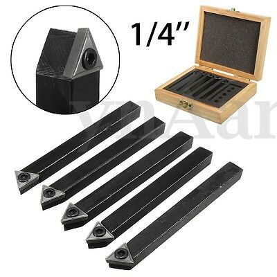 5Pcs 1/4'' C6 Chipbreaker Carbide Indexable Turning Insert Lathe Tool Bit Set