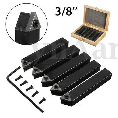 """5Pcs 3/8"""" Indexable Carbide Tipped Lathe Turning Cutter Tool Set For CNC Machine"""