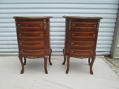 Beautiful Pair of Rounded French Art Nouveau Style Inlaid Wood Nightstands