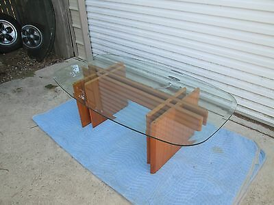Danish Modern MCM Puzzle Design Teak Coffee ~Cocktail Table w/ Optional Glass