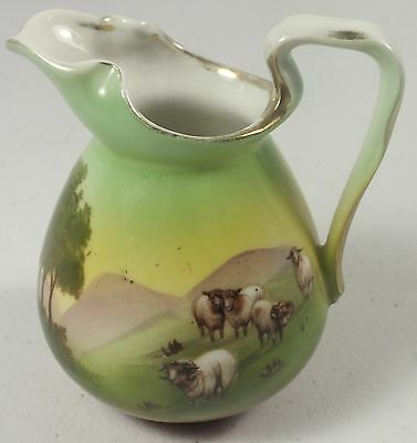 """Royal Bayreuth Creamer 3 3/4"""" Pitcher W/ Mountain Sheep ~Signed With Blue Mark"""