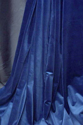 100% cotton ROYAL BLUE  STAGE VELVET luxury designer curtain fabric FABRICAZ